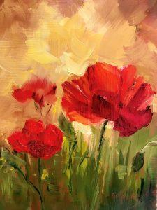 تابلو نقاشی مدرن- نقاشی گل های زیبای صحرایی1
