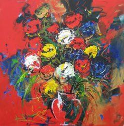 تابلو نقاشی مدرن- گلدان رزهای رنگی1