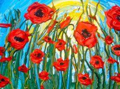 تابلو نقاشی مدرن- نقاشی خورشید و گل های قرمز1