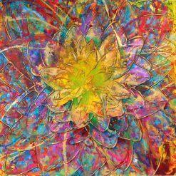 تابلو نقاشی مدرن-نقاشی گل با رنگهای فوق العاده1