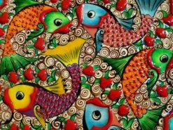 تابلو نقاشی مدرن ماهی های رنگی با طرح سرامیکی1