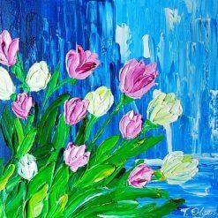 تابلو نقاشی مدرن-نقاشی زیبای برجسته از گلها و آبشار1