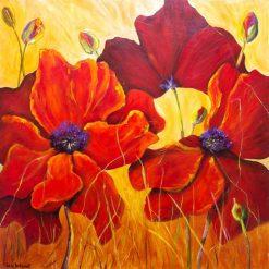 تابلو نقاشی مدرن-نقاشی زیبا از سه گل صحرایی1