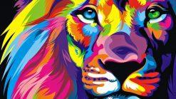 تابلو نقاشی مدرن-طرح گرافیکی زیبا از یک شیر