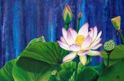 تابلو نقاشی مدرن-نقاشی فوق اعالده زیبا از گل مردابی1