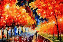 تابلو نقاشی پاییز بارانی رمانتیک