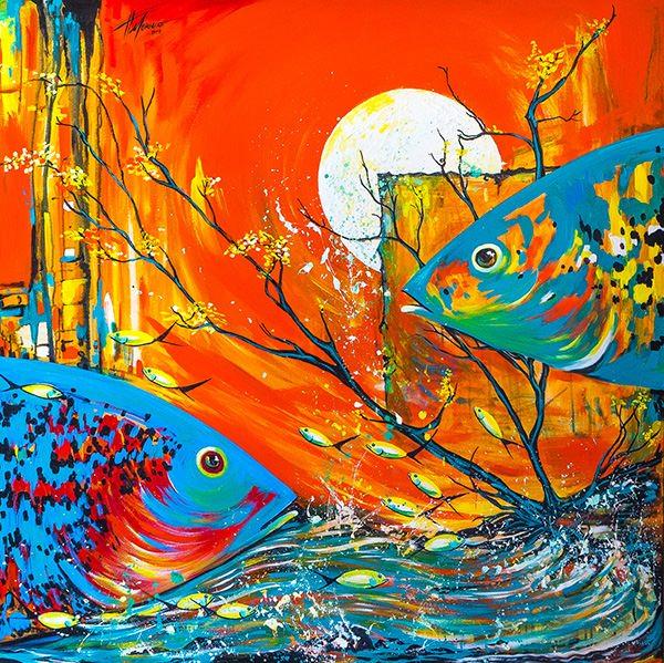 تابلو نقاشی مدرن ماهی ها در غروب