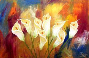 تابلو نقاشی مدرن گل های شیپوری