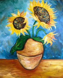 تابلو نقاشی مدرن-نقاشی زیبا از گلدان آفتابگردان1