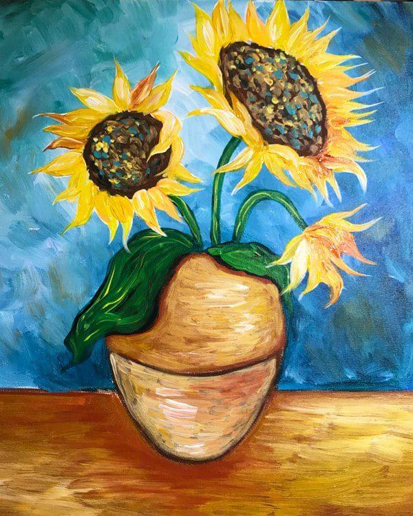 نقاشی گلدان گل ساده