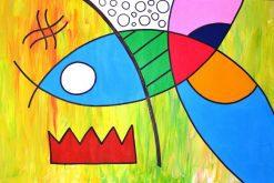 تابلو نقاشی مدرن-ماهی و دام1